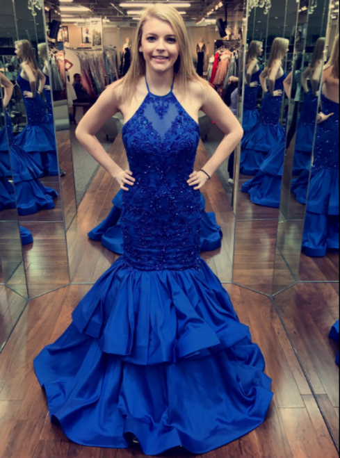 Royal Blue Mermaid Halter Backless Long Prom Dress With Beading