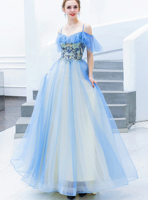 In Stock:Ship in 48 Hours Blue Tulle Spaghetti Straps Appliques Prom Dress