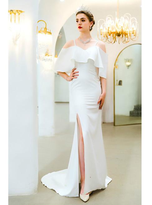 In Stock:Ship in 48 Hours White Mermaid Spaghetti Straps Prom Dress