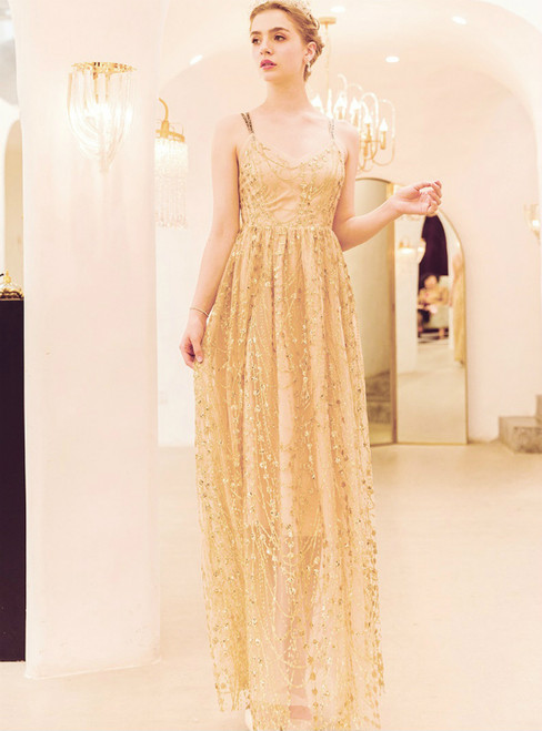 In Stock:Ship in 48 Hours Gold Tulle Sequins Straps Prom Dress