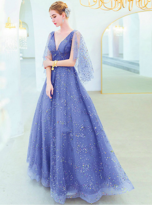 In Stock:Ship in 48 Hours A-Line Blue Tulle Sequins V-neck Prom Dress