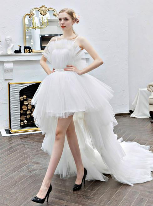 In Stock:Ship in 48 Hours White Hi Lo Tulle Spaghetti Straps Wedding Dress
