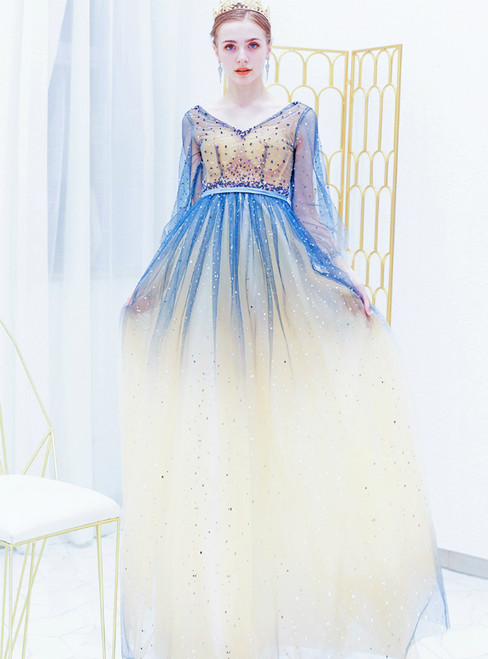 In Stock:Ship in 48 Hours Blue V-neck Long Sleeve Prom Dress With Beading