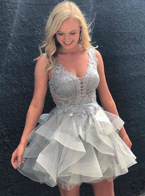 Short Tiered Skirt Lace-Bodice V neck Homecoming Dress With a Open Back