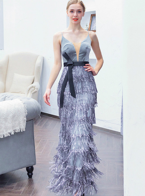 In Stock:Ship in 48 Hours Silver Gray Sequins Mermaid Prom Dress