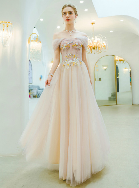 In Stock:Ship in 48 Hours A-Line Pink Tulle Off the Shoulder Appliques Prom Dress