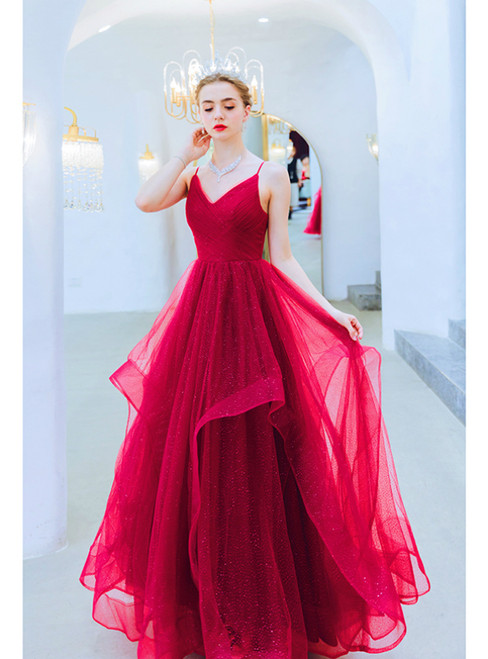 In Stock:Ship in 48 Hours Burgundy Tulle Spaghetti Straps Prom Dress