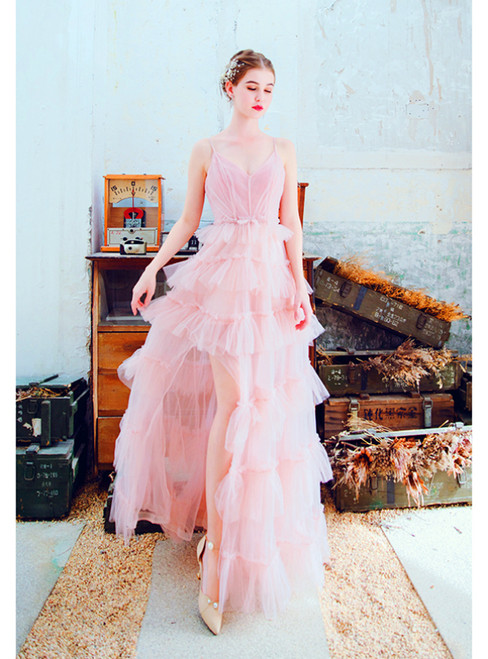 In Stock:Ship in 48 Hours Pink Tulle Spaghetti Straps Tiers Prom Dress