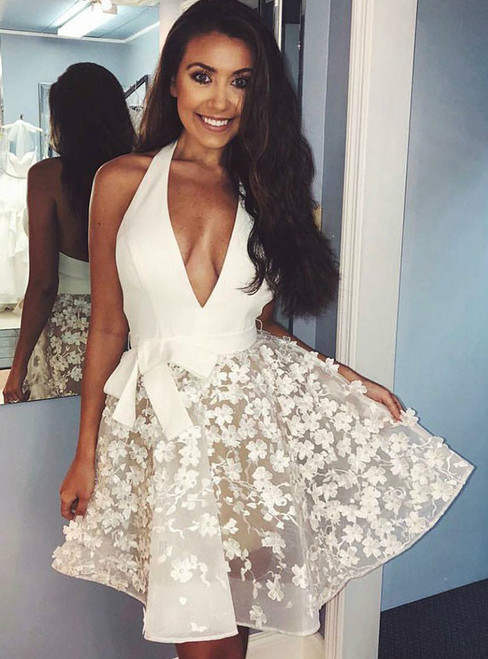 Ivory Lace Applique Halter Backless Homecoming Dresses