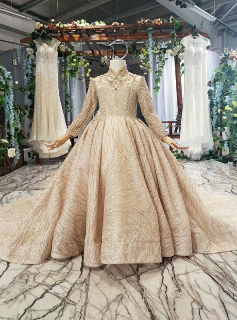 Champagne Tulle High Neck Long Sleeve Flower Girl Dress With Beading