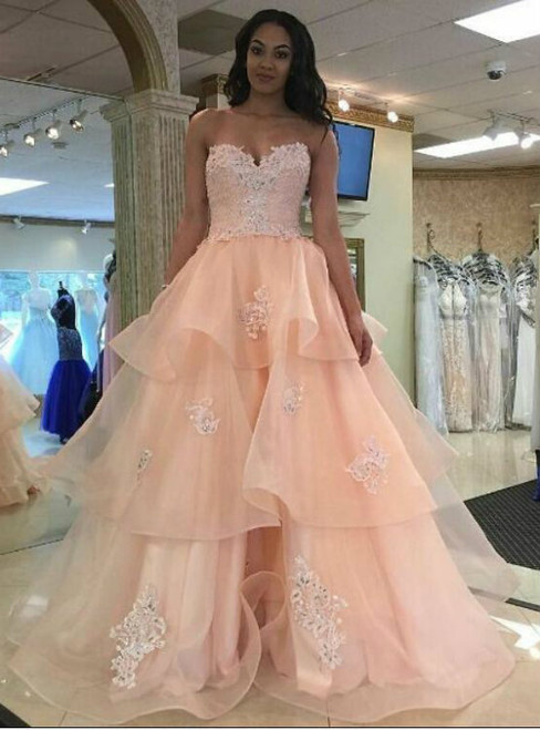 Pretty Pink Lace Prom Dresses Girly Prom Gowns Quinceanera Dresses