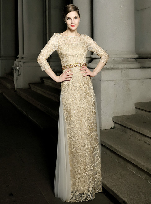 Gold Mermaid Lace Tulle Bateau Neck Mother Of The Bride Dress