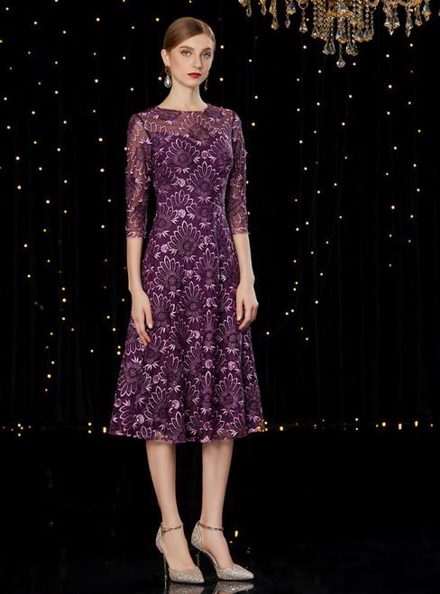 A-Line Purple Lace 3/4 Tea Length Mother Of The Bride Dress
