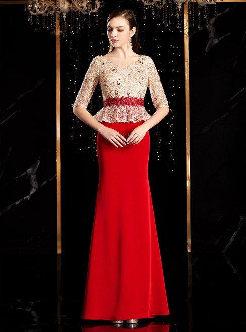 Red Mermaid Satin Lace Sequins V-neck Short Sleeve Mother Of The Bride Dress