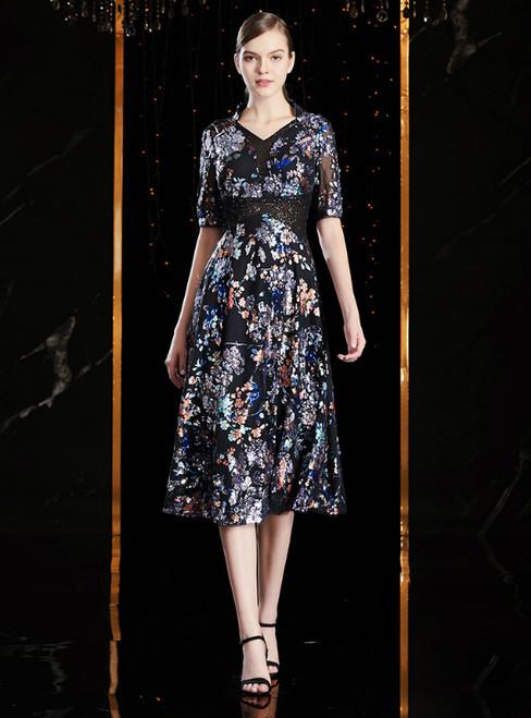 A-Line Black Print Sequins V-neck Short Sleeve Mother Of The Bride Dress