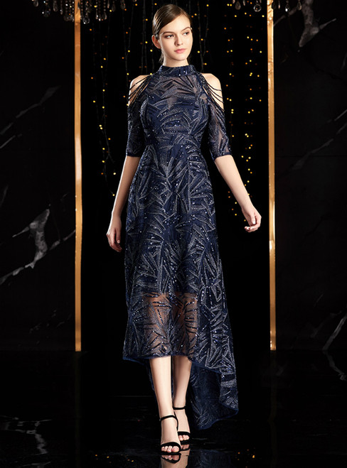 Navy Blue Sequins Hi Lo High Neck Short Sleeve Mother Of The Bride Dress
