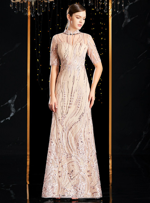 Champagne Mermaid High Neck Short Sleeve Sequins Mother of the Bride Dress