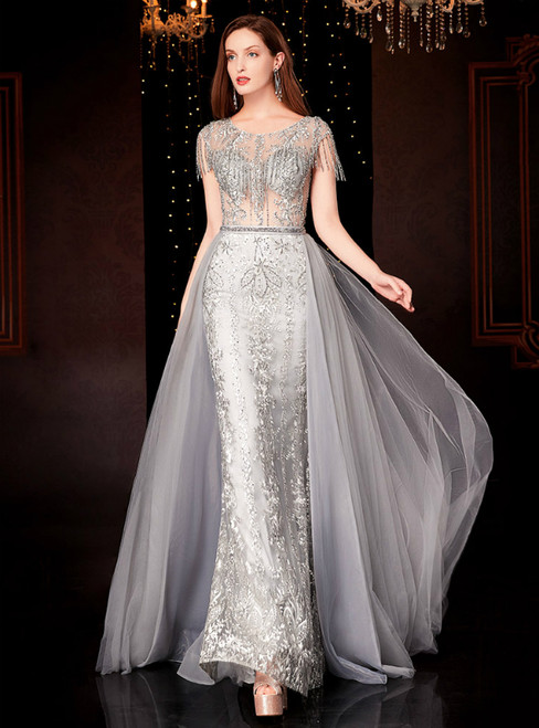 A-Line Gray Tulle Cap Sleeve Appliques Mother of the Bride Dress