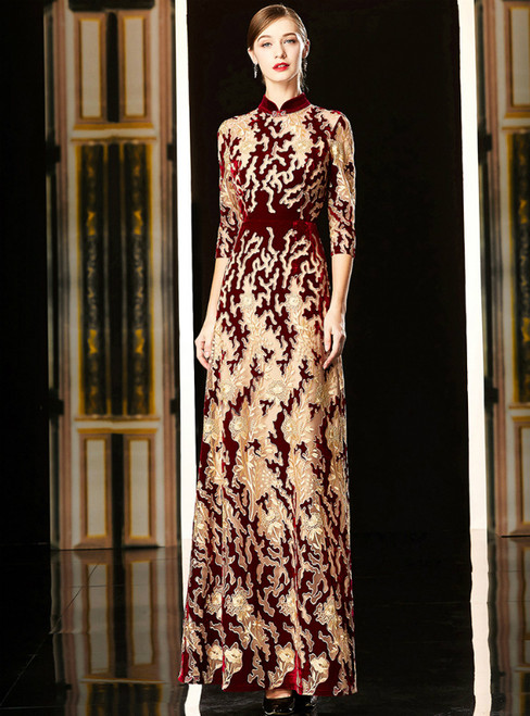 Champagne And Burgundy Lace High Neck Short Sleeve Mother Of The Bride Dress