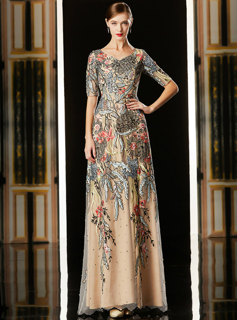 Champagne Tulle Embroidery V-neck Short Sleeve Mother Of The Bride Dress