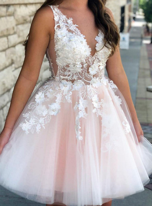 A-Line Pink Tulle V-neck Appliques Homecoming Dress