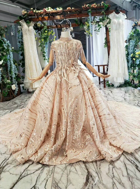 Champagne Gold Ball Gown Sequins High Neck Backless Cap Sleeve Flower Girl Dress