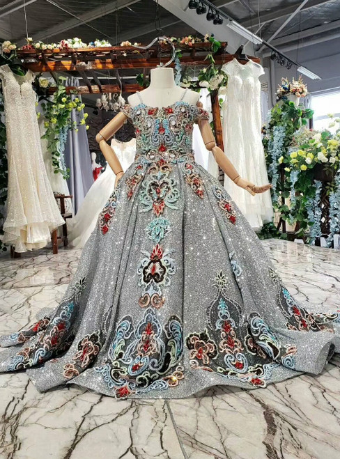 Silver Gray Sequins Spaghetti Straps Embroidery Beading Crystal Flower Girl Dress