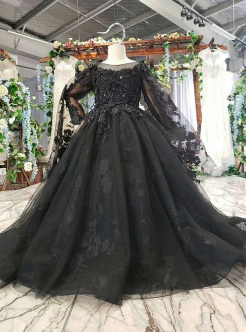 Black Ball Gown Tulle Appliques Backless Flwoer Girl Dress With Shawl
