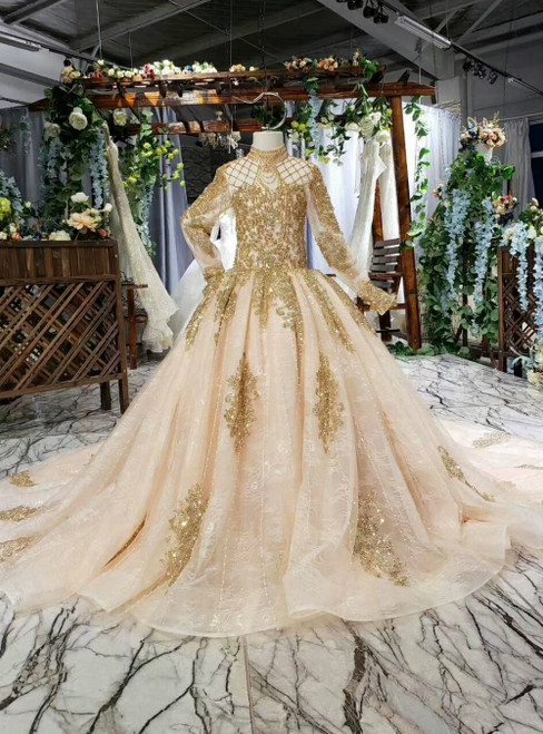Champagne tulle Sequins Appliques High Neck Long Sleeve Flower Girl Dress With Beading