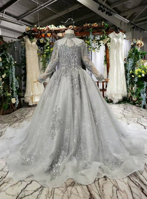 Silver Gray Tulle High Neck Long Sleeve Flower Girl Dress With Pearls