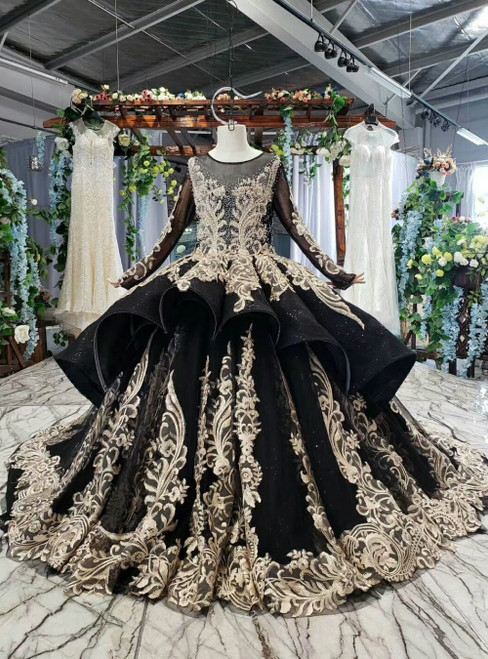 Black Ball Gown Gold Lace Appliques Long Sleeve Flower Girl Dress With Beading