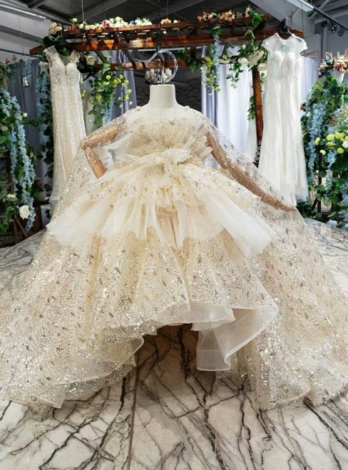 Champagne Tulle Sequins Ball Gown Flower Girl Dress With Shawl