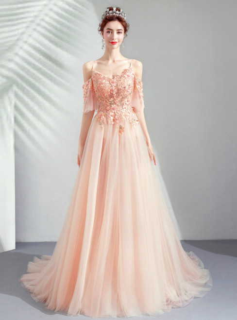In Stock:Ship in 48 Hours A-Line Pink Tulle Spaghetti Straps Appliques Prom Dress