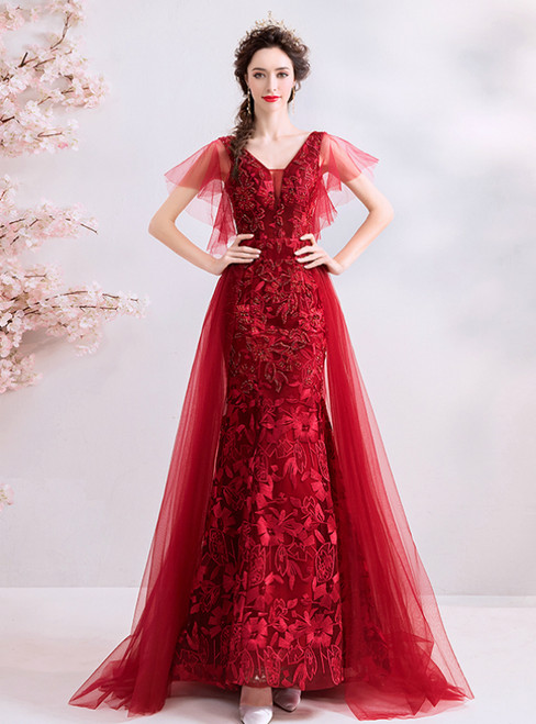 In Stock:Ship in 48 Hours Red Mermaid Lace Tulle V-neck Prom Dress