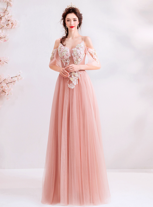 In Stock:Ship in 48 Hours Pink Tulle Appliques Long Prom Dress