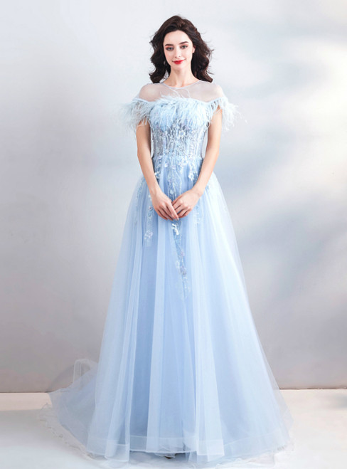 In Stock:Ship in 48 Hours Blue Tulle Appliques Prom Dress With Feather