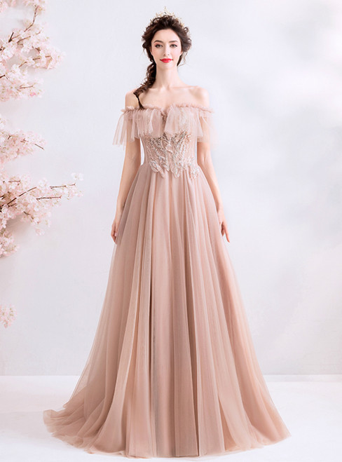 In Stock:Ship in 48 Hours Sexy Pink Tulle Off the Shoulder Appliques Prom Dress