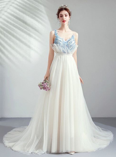In Stock:Ship in 48 Hours Simple White Tulle Spaghetti Straps Long Wedding Dress
