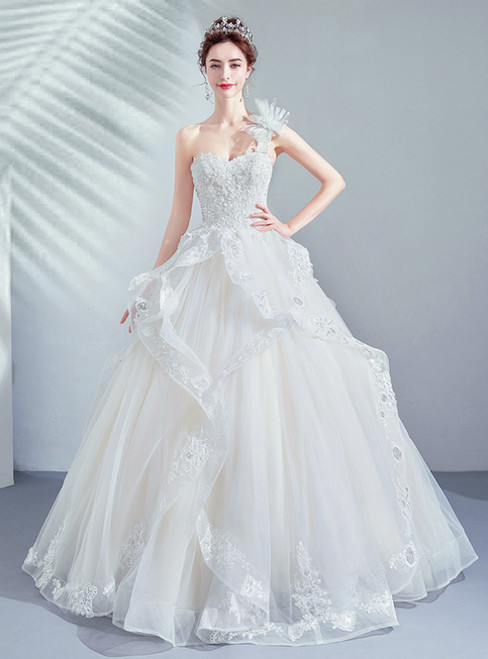 In Stock:Ship in 48 Hours Ivory White Tulle One Shoulder Wedding Dress