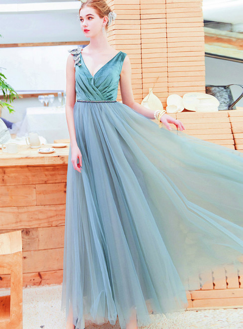 In Stock:Ship in 48 Hours Green Tulle V-neck Pleats Prom Dress