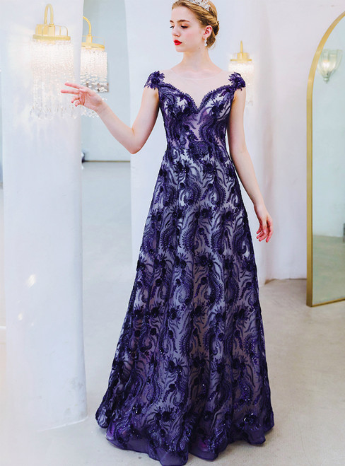 In Stock:Ship in 48 Hours Dark Blue Tulle Sequins Appliques Prom Dress