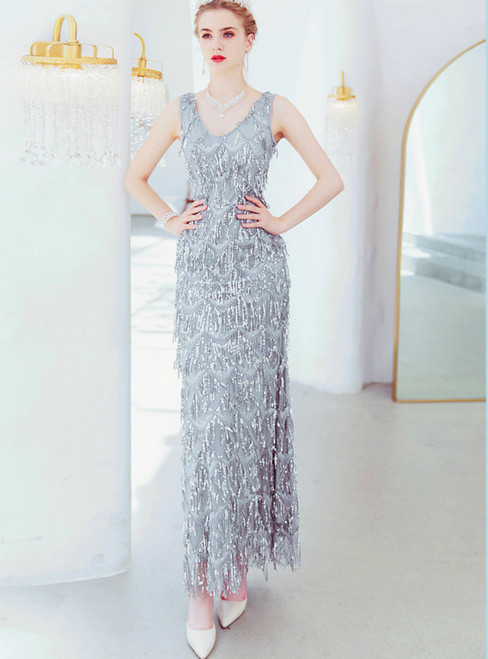 In Stock:Ship in 48 Hours Silver Mermaid Sequins V-neck Prom Dress