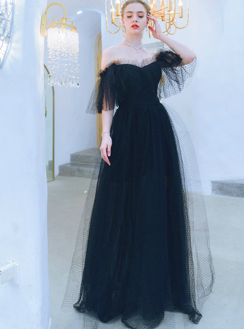 In Stock:Ship in 48 Hours A-Line Tulle Off the Shoulder Prom Dress