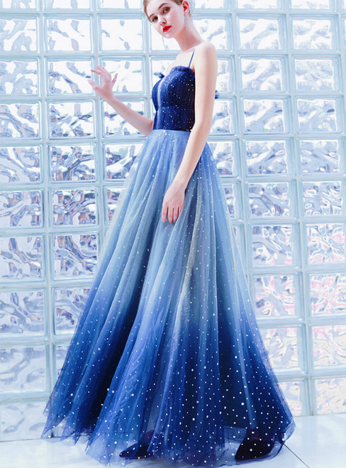 In Stock:Ship in 48 Hours Blue Tulle Spaghetti Straps Sequins Prom Dress