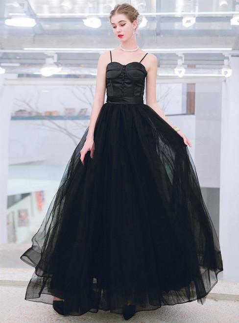 In Stock:Ship in 48 Hours Black Tulle Spaghetti Straps Floor Length Prom Dress