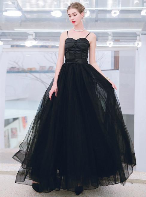 In Stock:Ship in 48 Hours Black Tulle Spaghetti Straps Floor Length Prom Dress