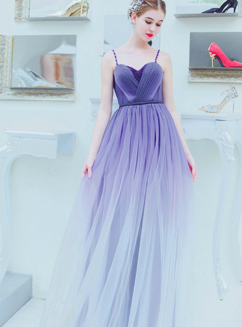 In Stock:Ship in 48 Hours Blue Purple Tulle Pleats Prom Dress