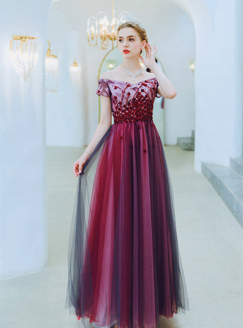 In Stock:Ship in 48 Hours Burgundy Tulle Off the Shoulder Sequins Prom Dress