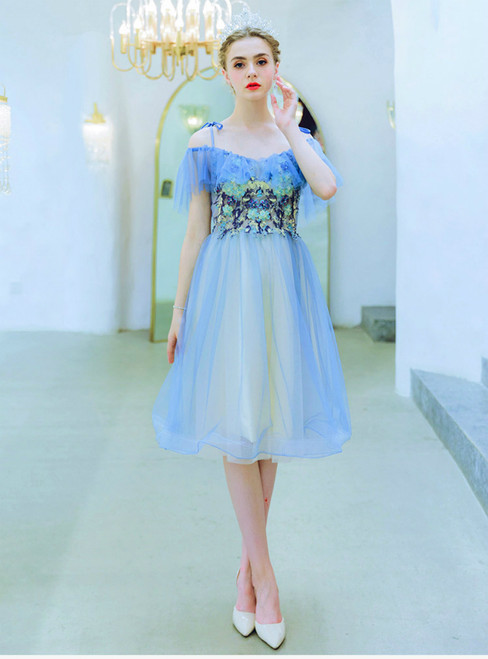 In Stock:Ship in 48 Hours Blue Tulle Appliques Short Homecoming Dress