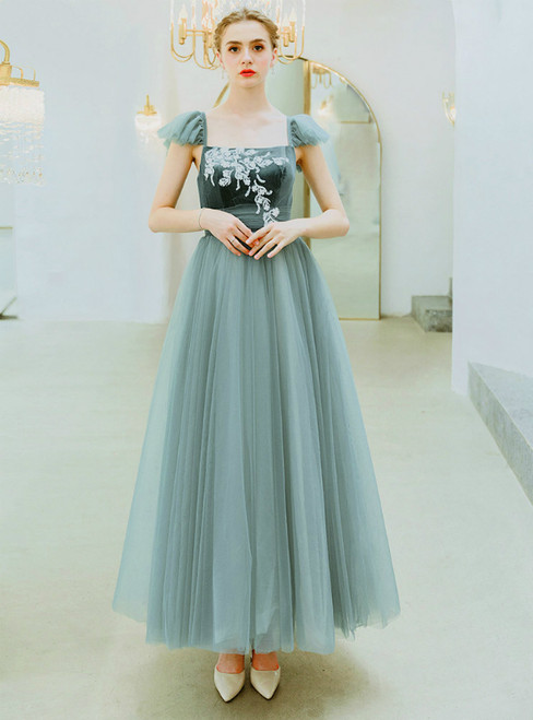 In Stock:Ship in 48 Hours Green Tulle Square Neck Appliques Prom Dress